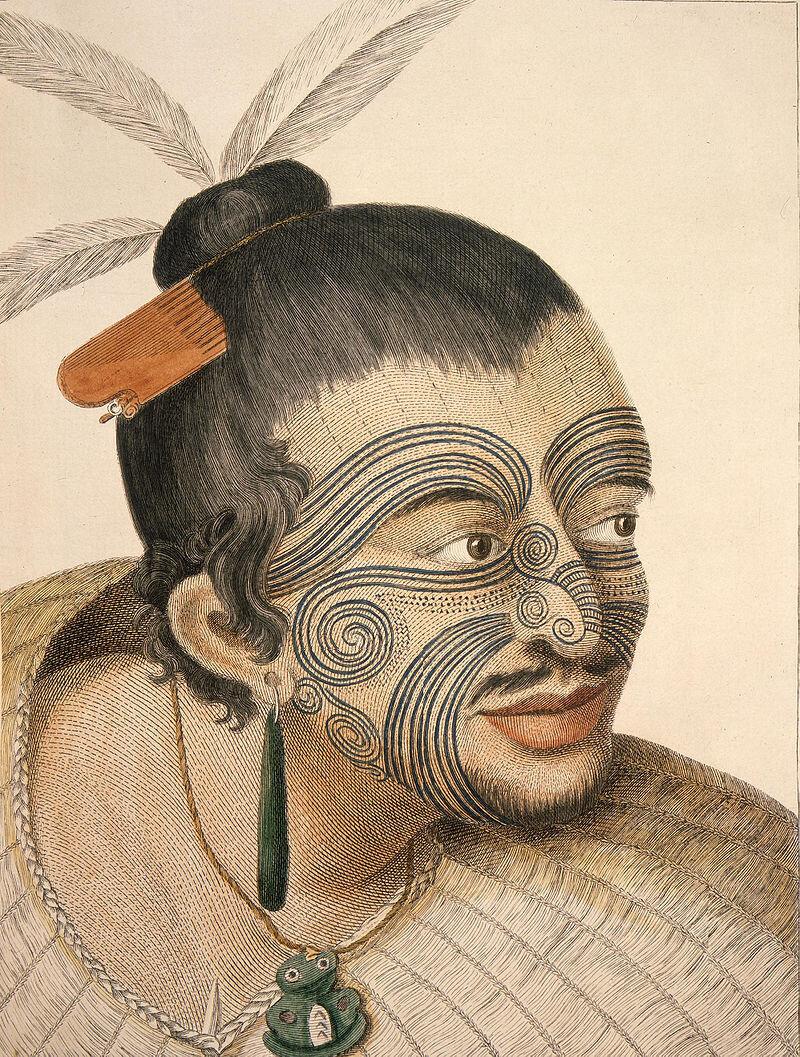 Sketch of a Maori Chief c/ 1784 - Sydney Parkinson