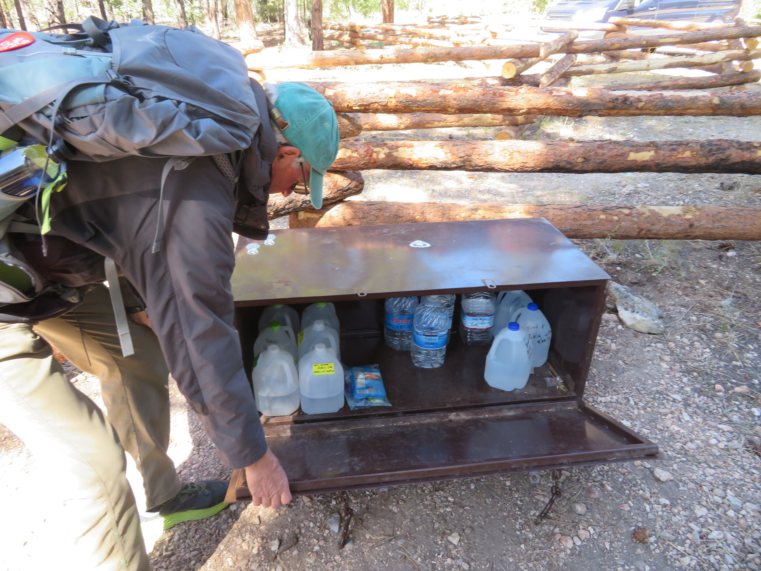 A food & water cache/safe at an AZT trailhead