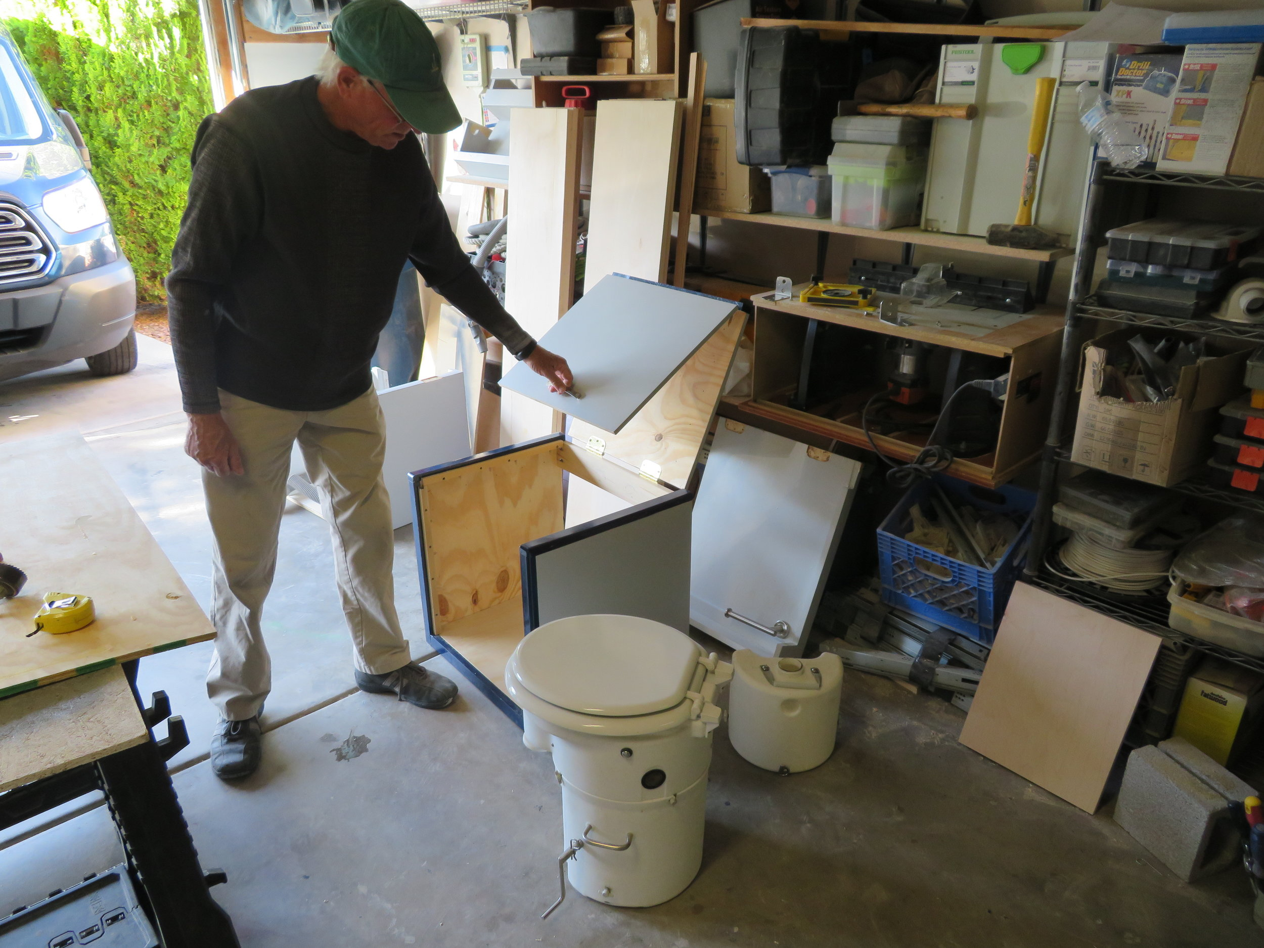 David's building a new enclosure for the composting toilet