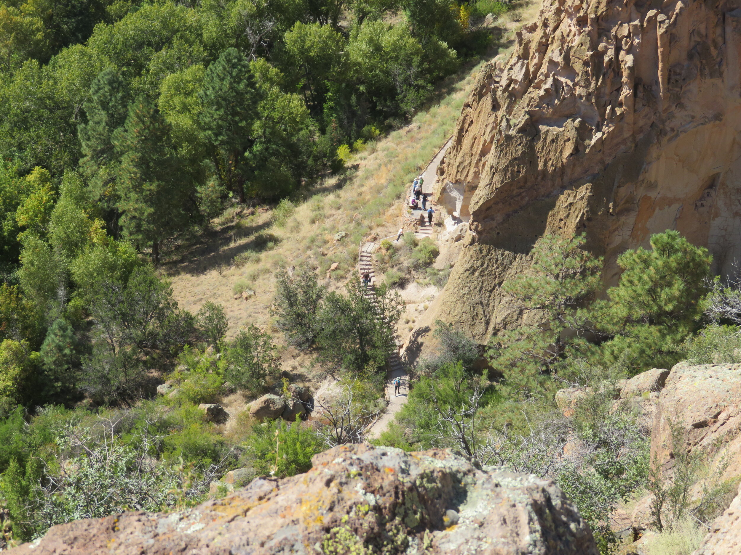 Steep switchbacks led us down to the Frijoles Canyon and the Visitor's Center