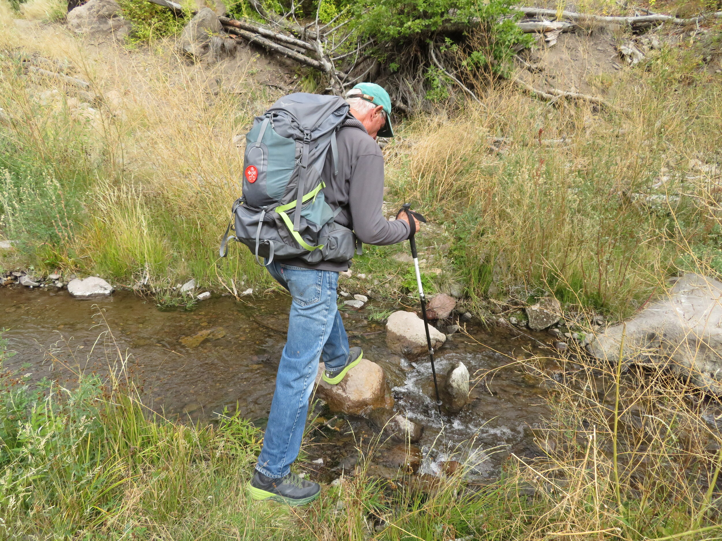 Stepping stones across the Frijoles Creek… 44 different times!