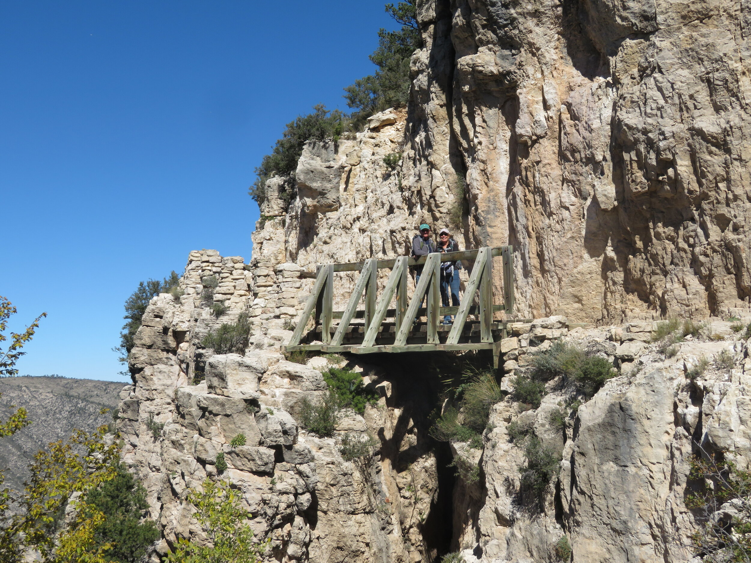 A sturdy bridge was constructed to traverse a sheer drop-off point along the trail.