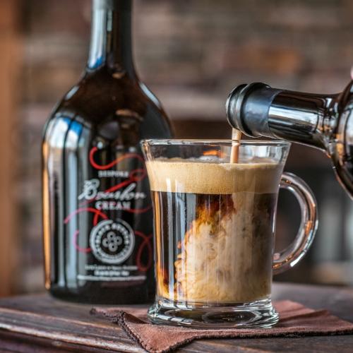 Irish coffee made with Black Button Distilling Bourbon Cream