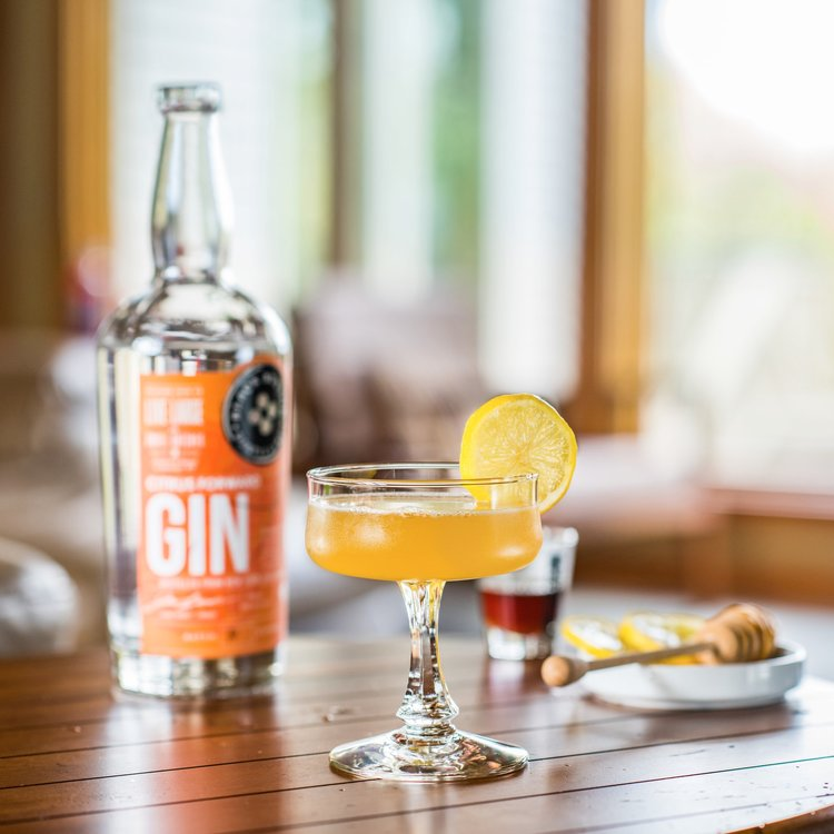 Bottle of Citrus Forward Gin with a Bee's Knees cocktail on a wooden table