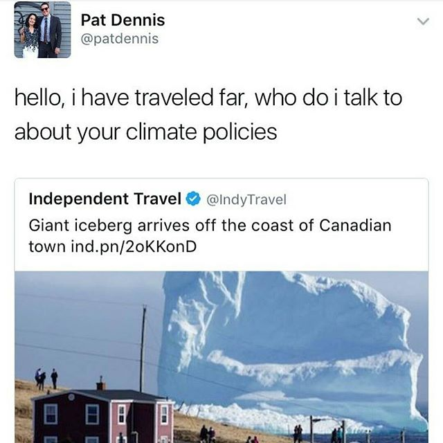 HA!!!! Repost from @the_flower_garden_ - 😂 -Victoria 🌹  #poc #woc #environment #climatechange #icebergs #climate #climatepolicies #ice #canada