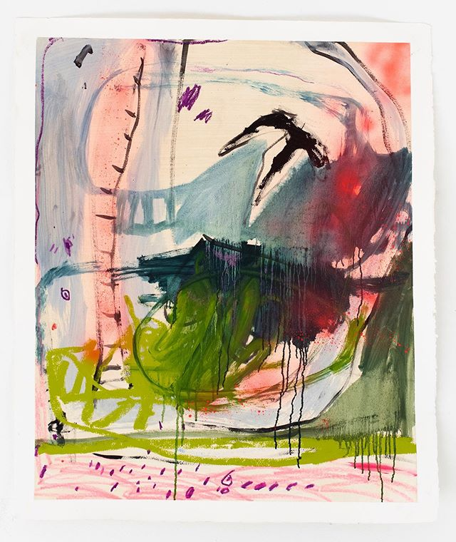 sticky swamp landscape @sundayshop.co. oil, oil bar, ink, pastel, crayon, and spray paint on cotton paper