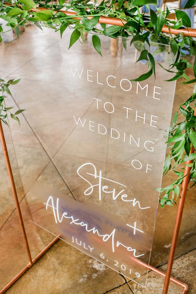 Wedding Welcome Sign  Glass Look Decor  Modern Acrylic Wedding Sign   SS-10 — Sweet Carolina Collective