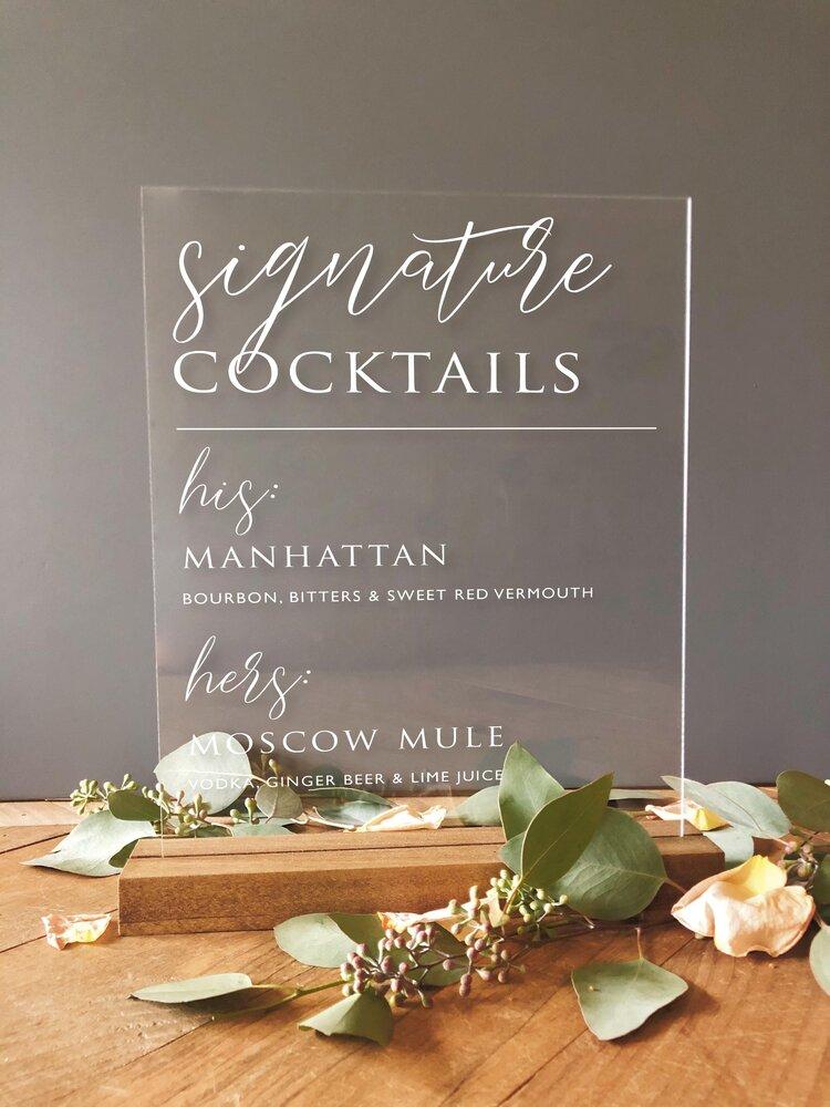 Acrylic Signature Cocktail Sign Signature Drink Sign Wedding Signature Drink Sign Acrylic Wedding Sign Signature Drinks Wedding