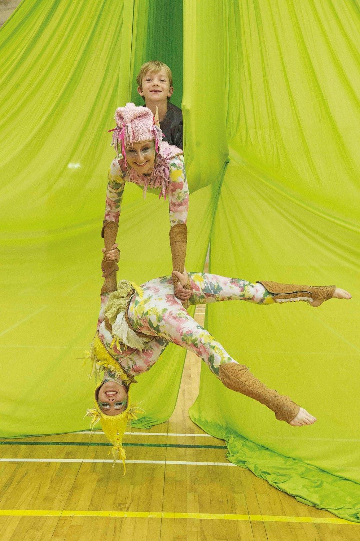 Fidget Feet Aerial Dance Theatre dancers pose for photo