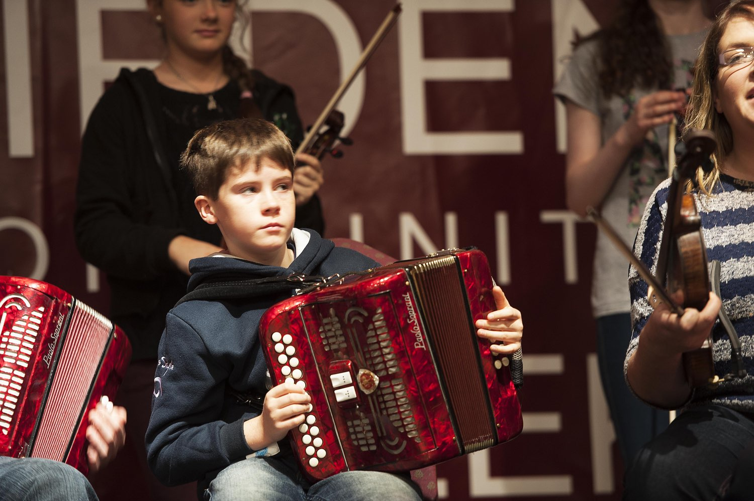 Students from Clifden Community School put on a recital, playing various instruments