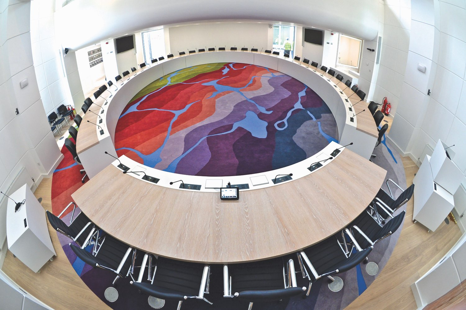 This 132-square-metre (1420 square feet) seamless piece produced for the Galway County Council chamber features over twenty colours and tones inspired by County Galway's landscape. Photo courtesy of Galway County Council