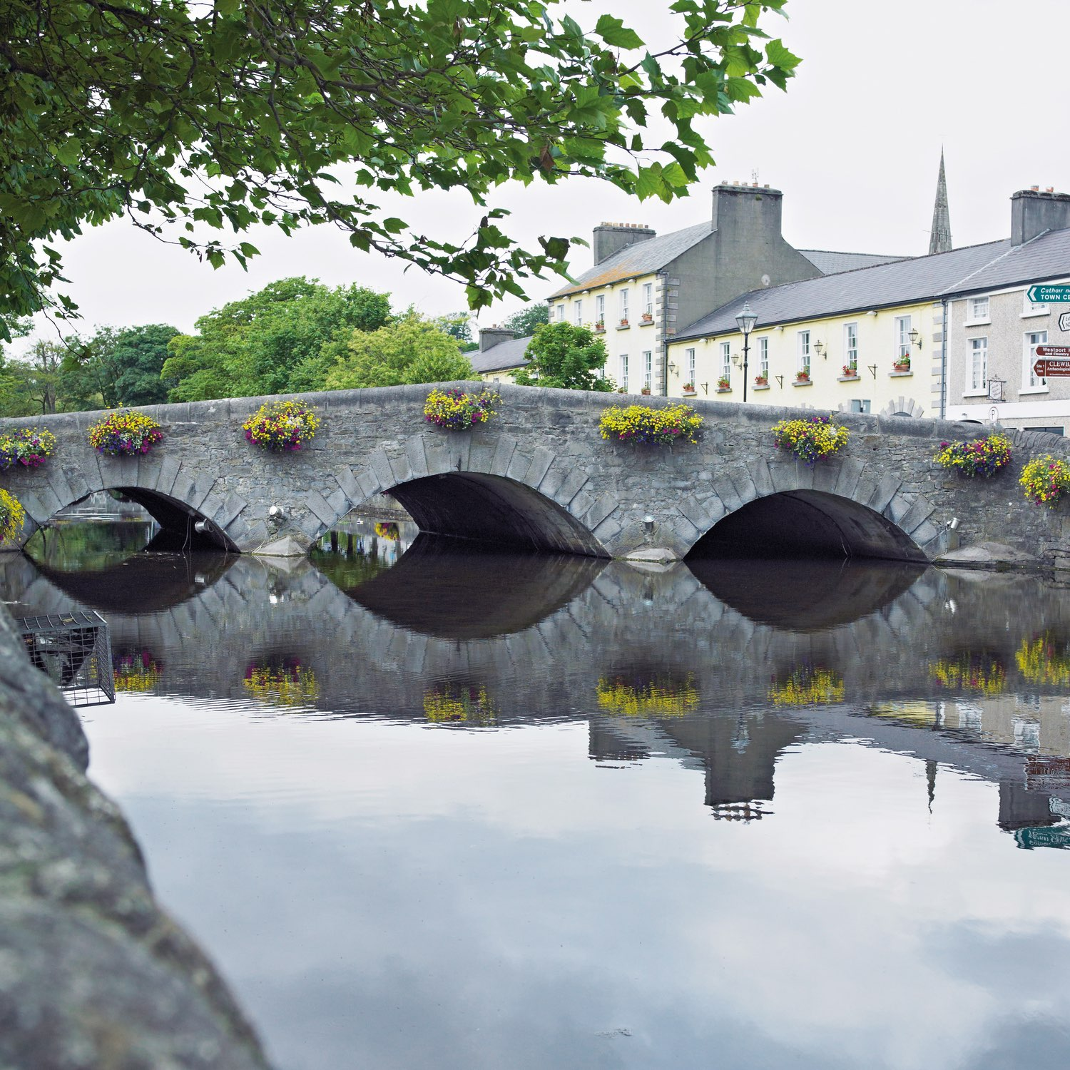 The calm Carrowbeg River flows almost directly through Westport's city centre and makes for a scenic stroll along the Mall to the north and south.  Photo by Richard Semik / Shutterstock