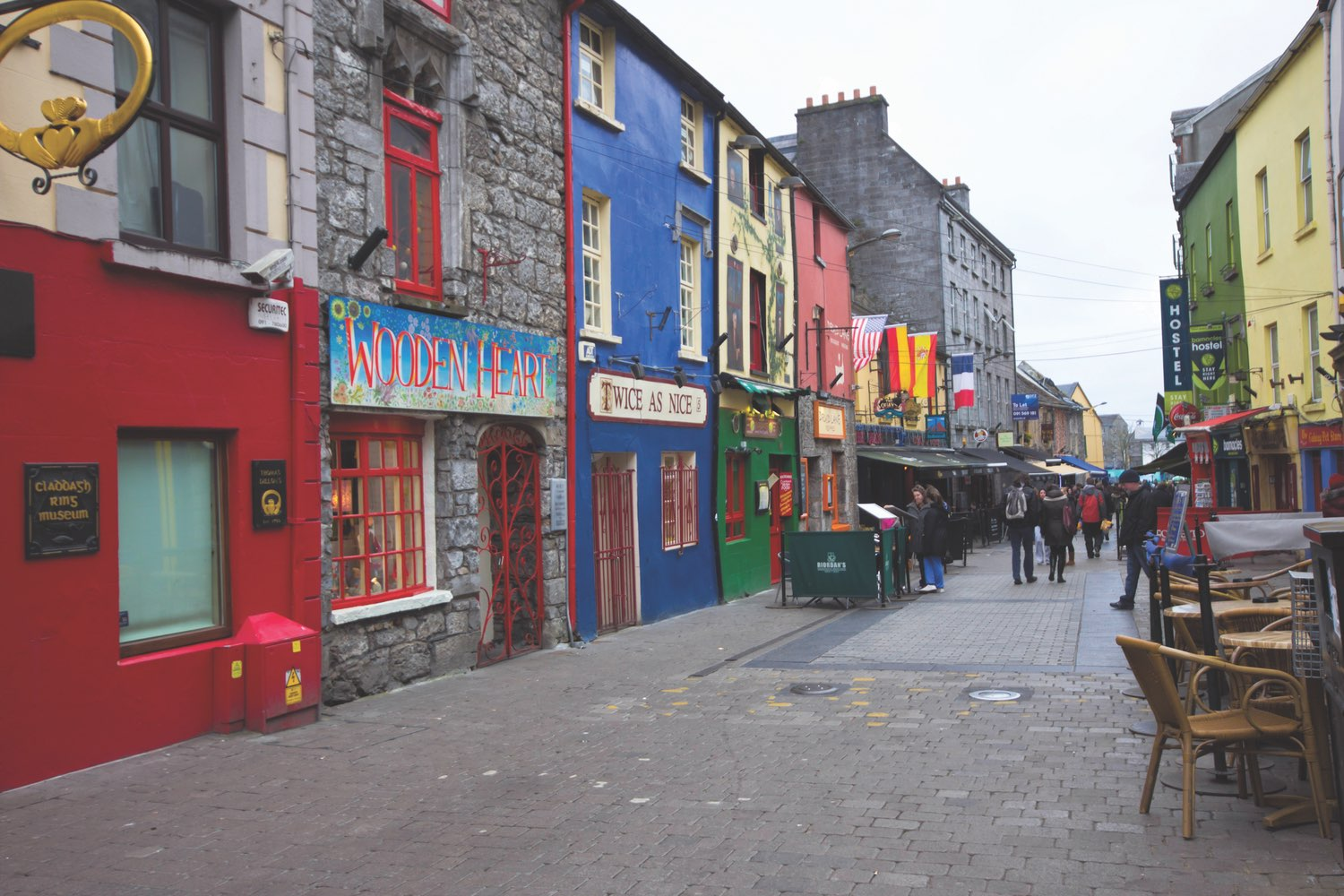 Streetscape in historic Galway City—a medieval coastal city that is now a lively cultural center and popular tourist destination