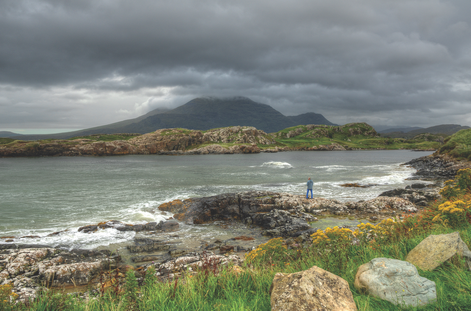 Silky clouds kiss the tops of the Bens behind Lettergesh Beach; Photo by Trevor Dubber