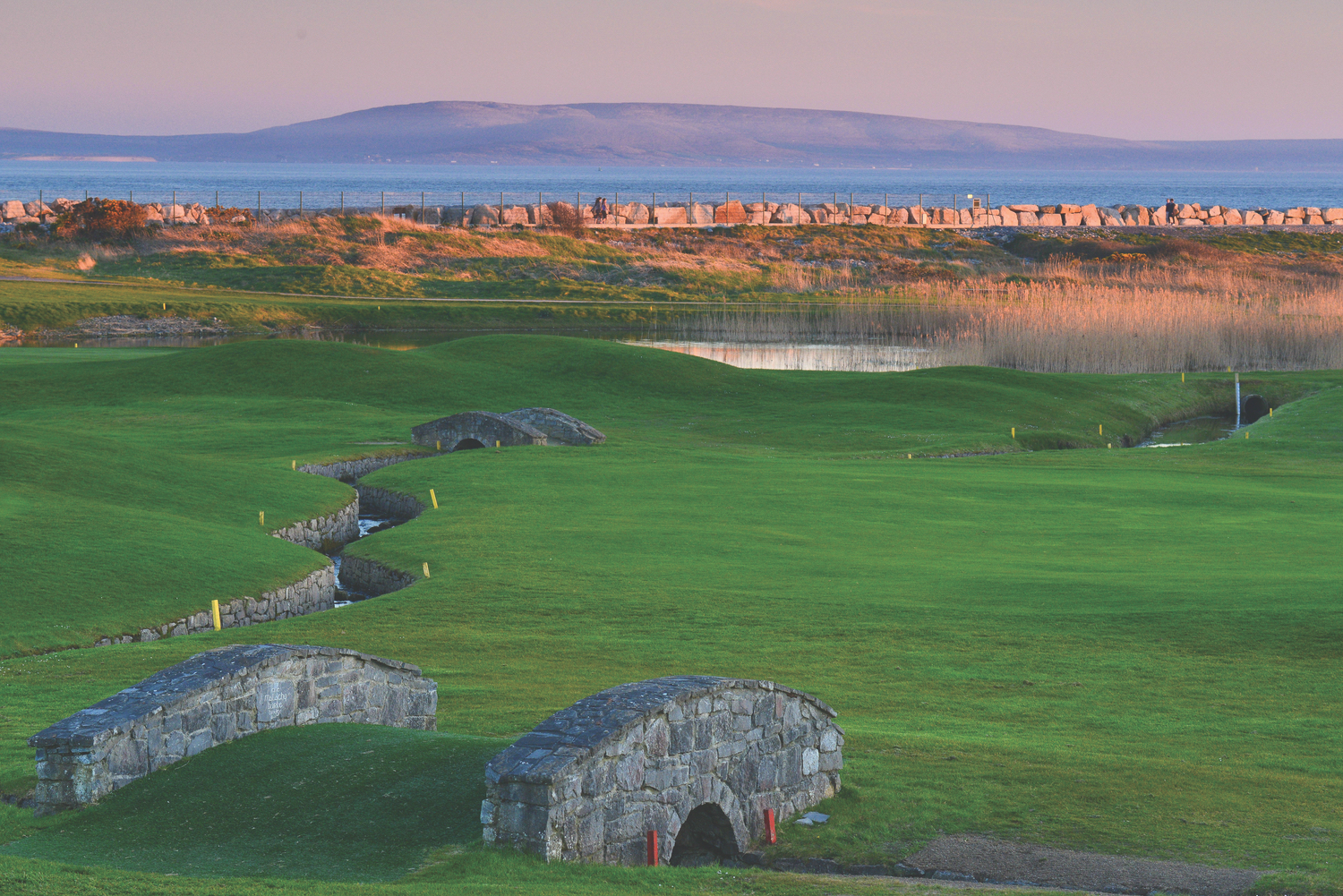 Galway Golf Club: a view to the Burren and Galway Bay adjacent to the fourth green.