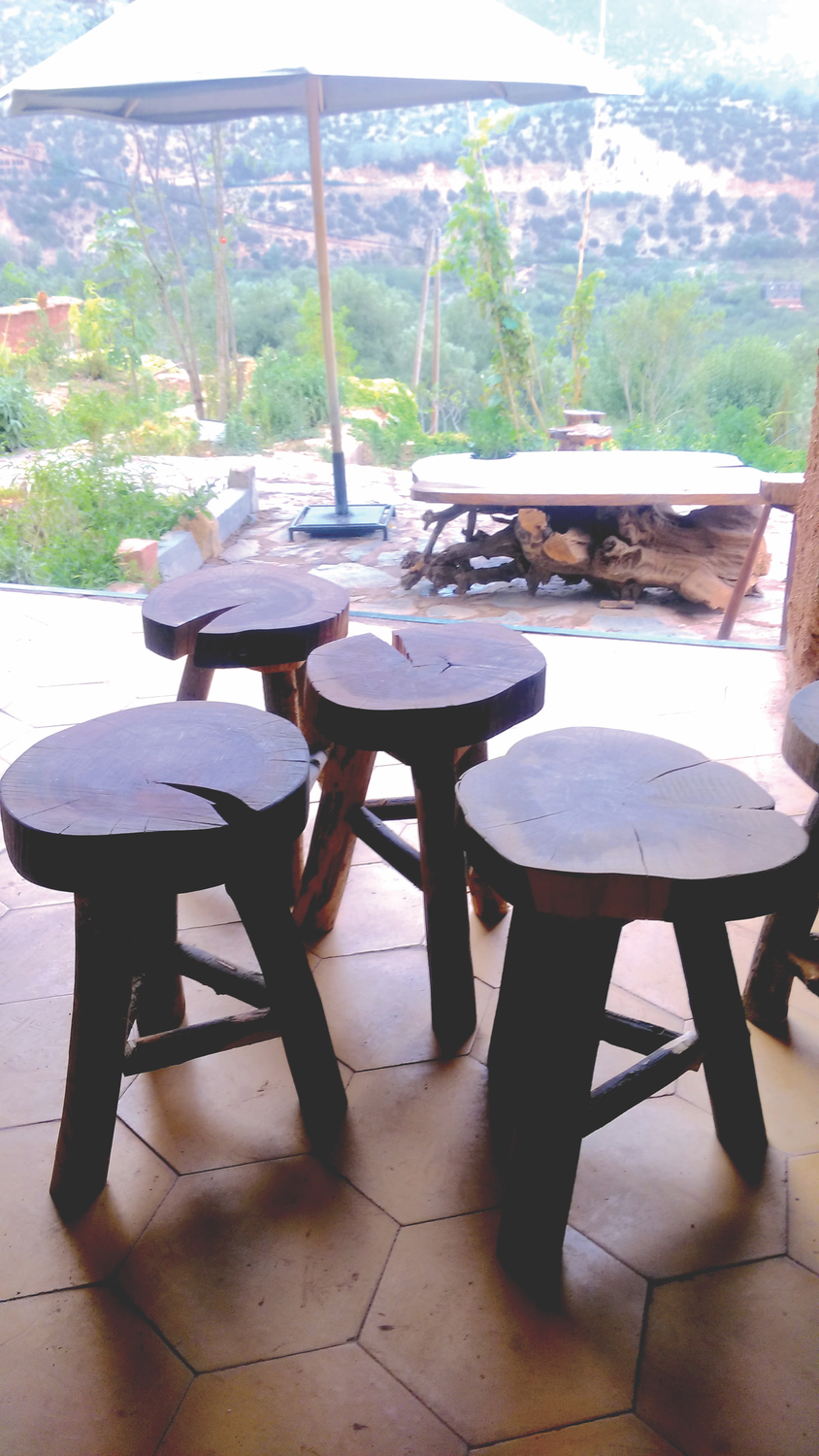 Stools made at the TWC from recycled local timber; Photo by Dermot O'Donovan