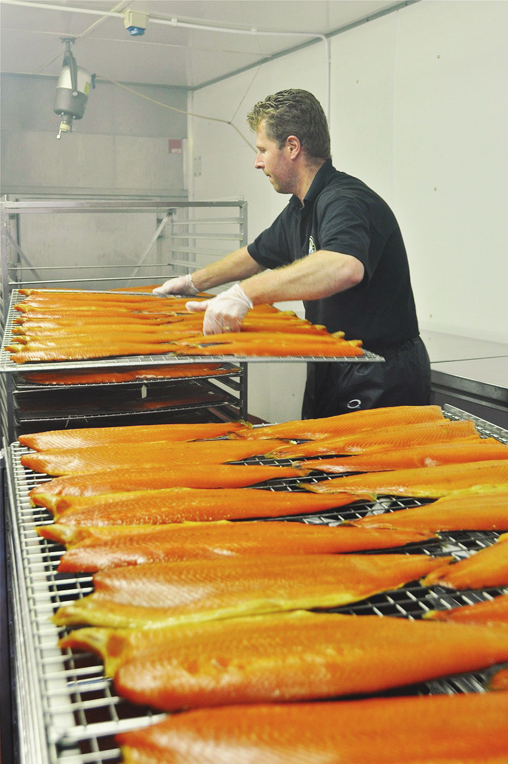 Freshly smoked salmon straight from the kiln.