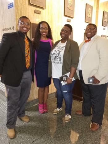 From left to right: Josh Baker (Poet), Dr. Nadia Richardson (Founder, No More Martyrs), Traniesa Caldwell (Poet and Founder of  Coffeehouse Poets ) and Quentin Bell (Founder of  The Knights & Orchids, Inc. - TKO )