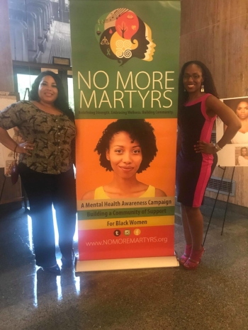 Tamara Edwards is the Founder of  TEGA Creative  and is the creator of the signature No More Martyrs logo. She is pictured here with Dr. Nadia Richardson (Founder of No More Martyrs)