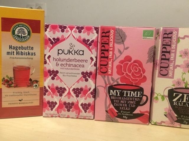 女性のためのお茶は可愛いパッケージで用意されています。