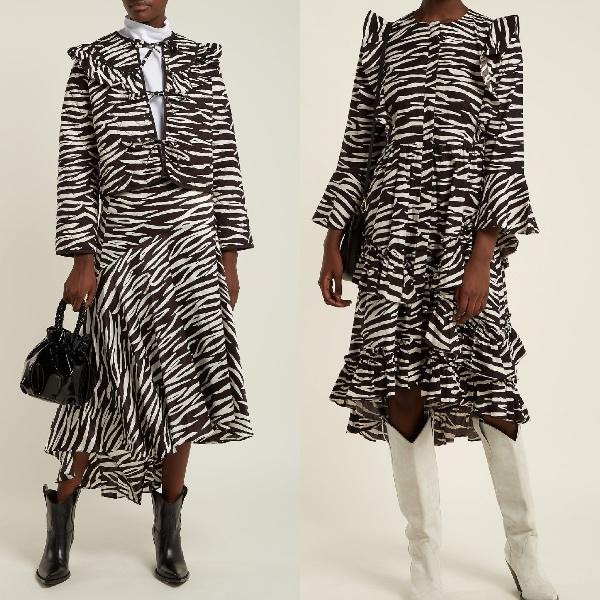 ランウェイ・Faulkner ゼブラ ストライプ ジャケット   ガニー Blakely zebra・ゼブラ・非対称・ミディスカート    Faulkner ゼブラ・フリル・ミディ・ワンピース   Photo: matchesfashion