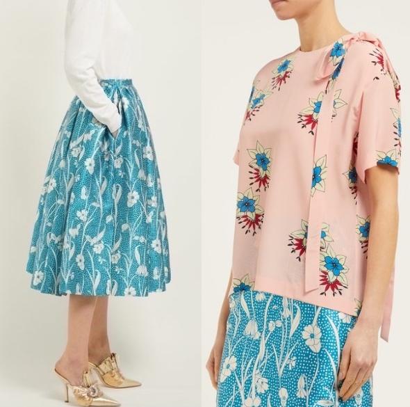 Photo: matchesfashion  ロシャス  花柄・Duchess・サテン・フレア・ボリュームスカート  x