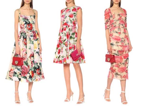 ドルチェ&ガッバーナ  花柄シルクドレス    花柄 コットン フレア・ワンピース     フローラルチュールミディドレス