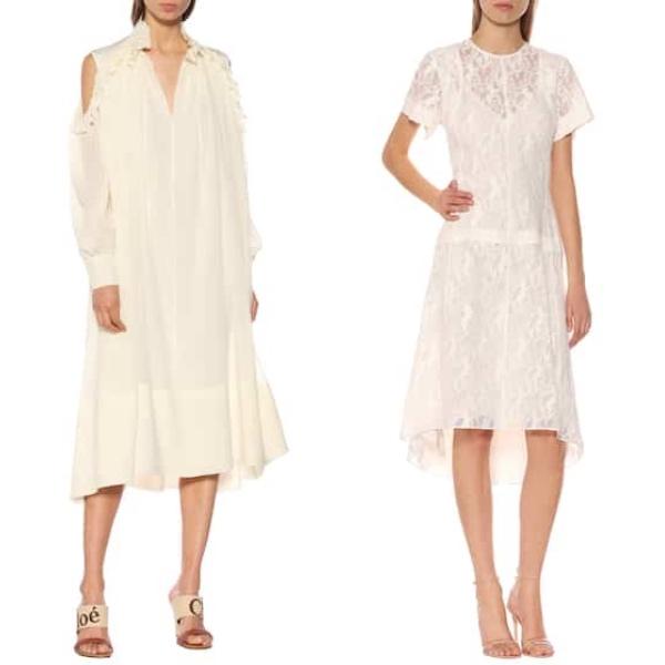 クロエ・ シルクジョーゼットドレス(300,900円)   コットン混レースドレス   Photo: mytheresa