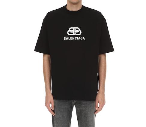 バレンシアガ ロゴ・スリムフィット・コットン・Tシャツ  ( 黒 ・ 白 ) Photo: luisaviaroma