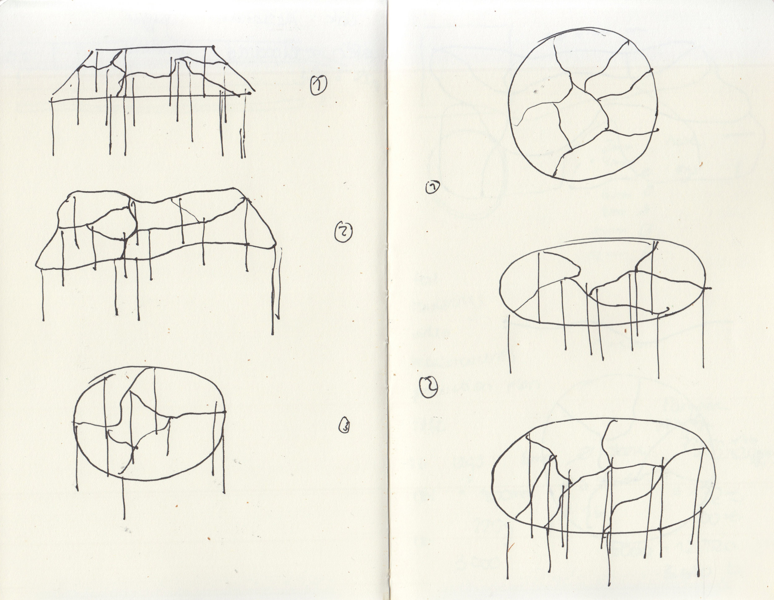 drawing of different modular tables