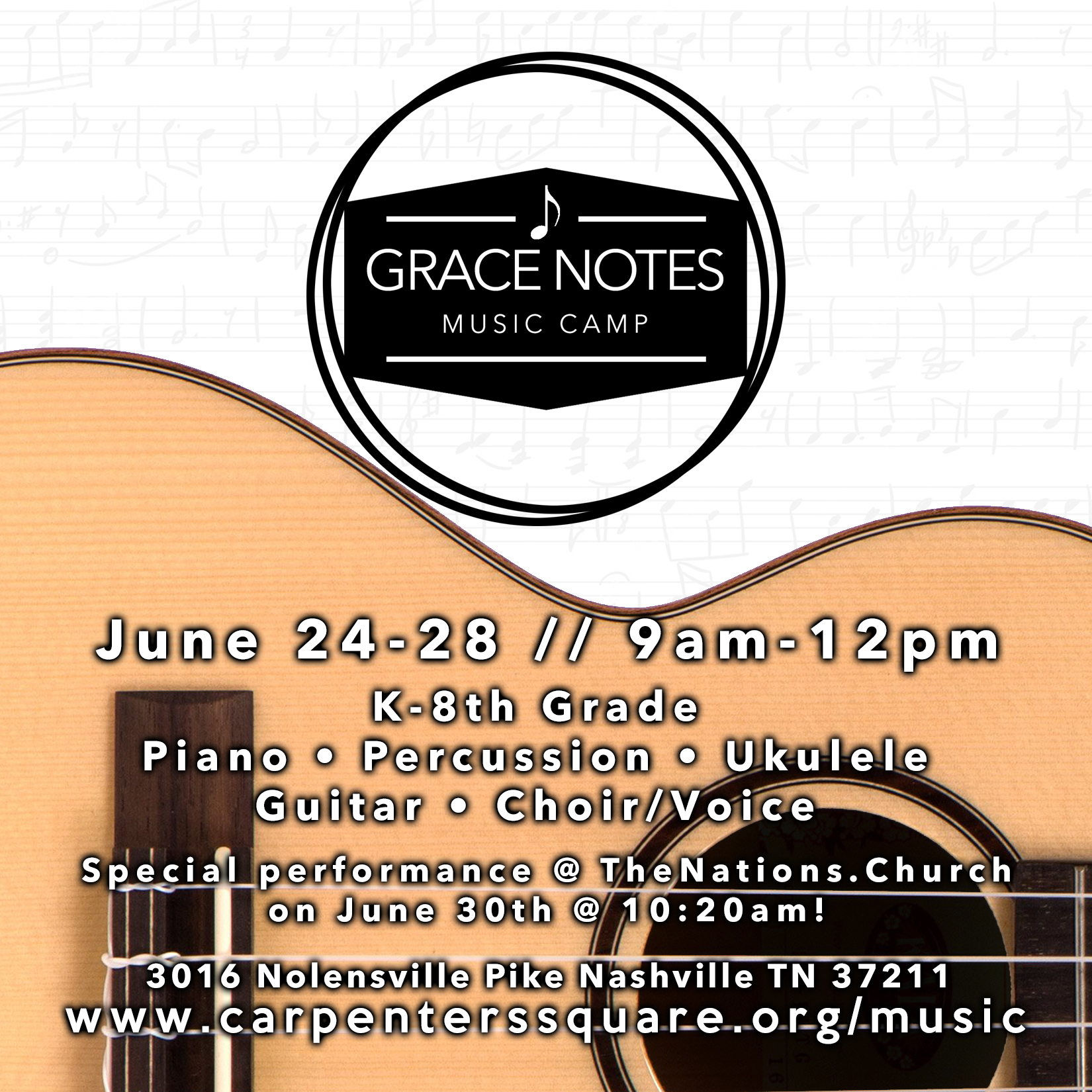 Grace Notes Music Camp - We are excited to announce the launch of our first music camp this summer at Carpenter's Square! Grace Notes is a free music camp that will be held on June 24-28 from 9am-12pm and will be led by amazing Nashville trio The Erabellas.Students K-8th gradePiano • Ukulele • Choir/Voice • Percussion • General Music Theory