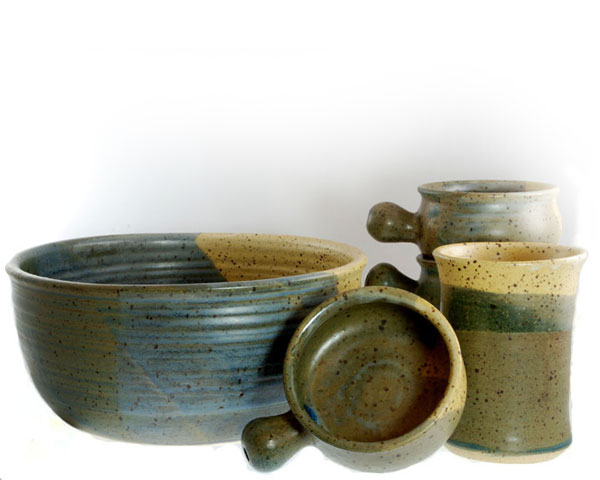 Khaki and Cream Glazes on Large Bowl, 4 Individual Sized Uni-handle Bowls and Tumbler