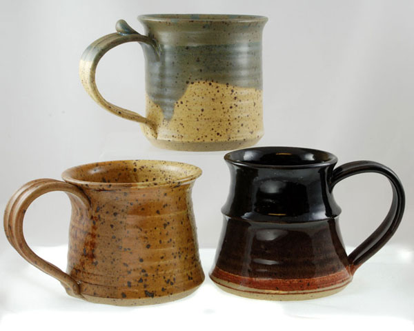 Khaki and Cream Glazes on Tankard Mug; Brown and Cream Glazes on Straight Mug; Gloss Black and Eggshell Glazes on A-Shaped Mug