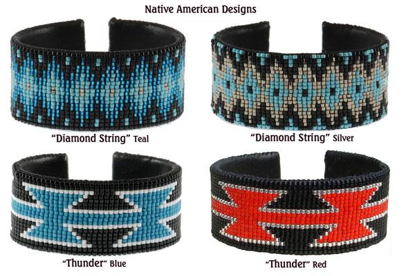 Native American Designs. Top: Diamond String - Teal; Diamond String - Silver; Bottom: Thunder - Blue; Thunder - Red.