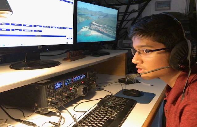 Dhruv Rebba, KC9ZJX, operates PJ2Y from Curacao Island during the 2018 Dave Kalter Youth DX Adventure. (Photo provided by KC9ZJX)