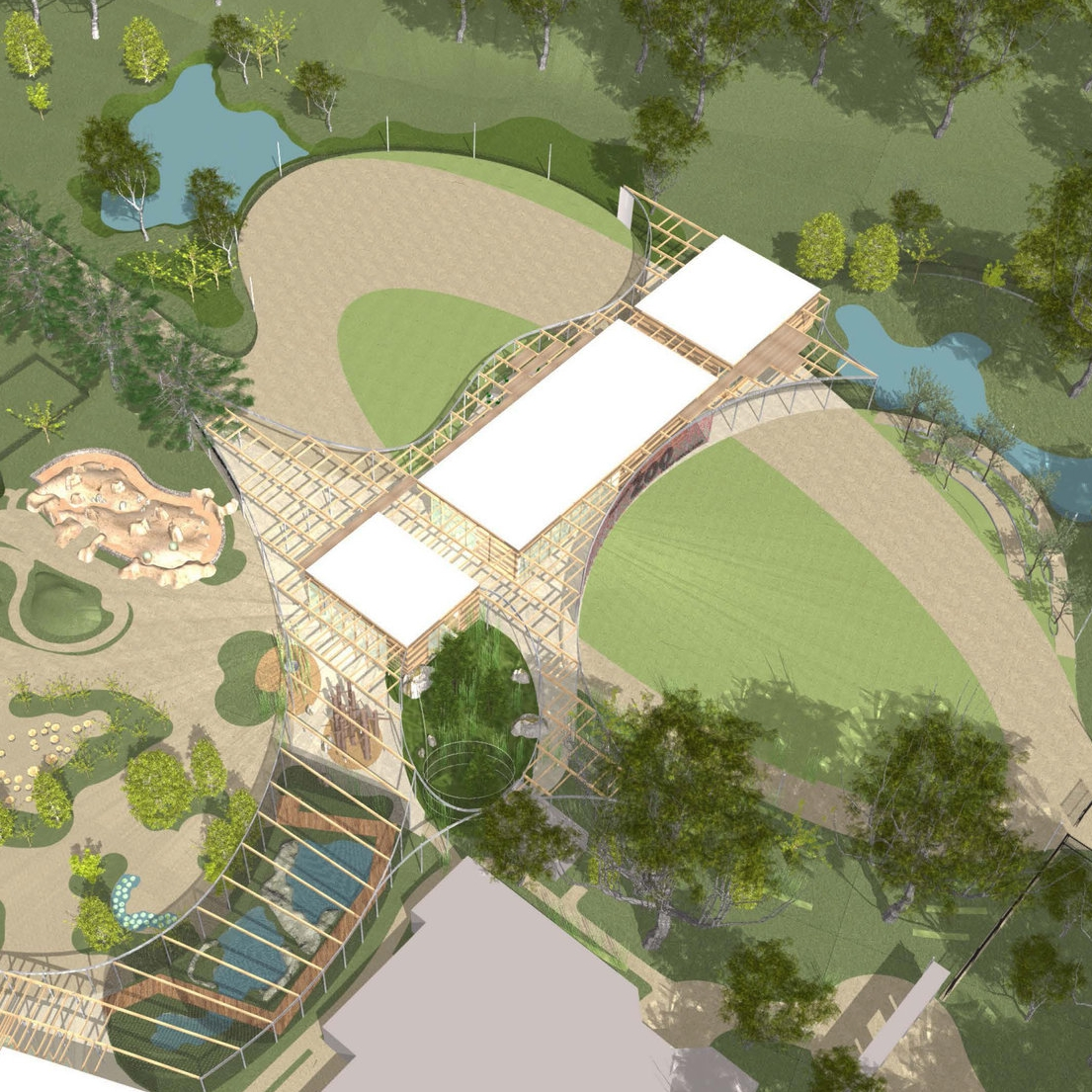 Zoo master plan featuring savanna habitats and design for the entry and arrival plaza