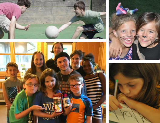 Above left: Campers battle it out in the gaga ball ring; right: Campers transformed into kittens! Below left: CQOH team winners of the Kagin Cup, awarded to team game winners in memory of Camp Quest founders Edwin and Helen Kagin; right: Camper completes a Humanist program reflection activity