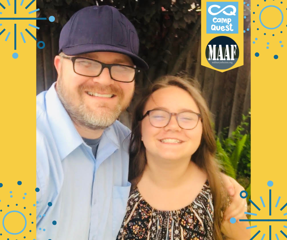 MAAF Campership recipient Zoe Williamson and her father, Matthew.
