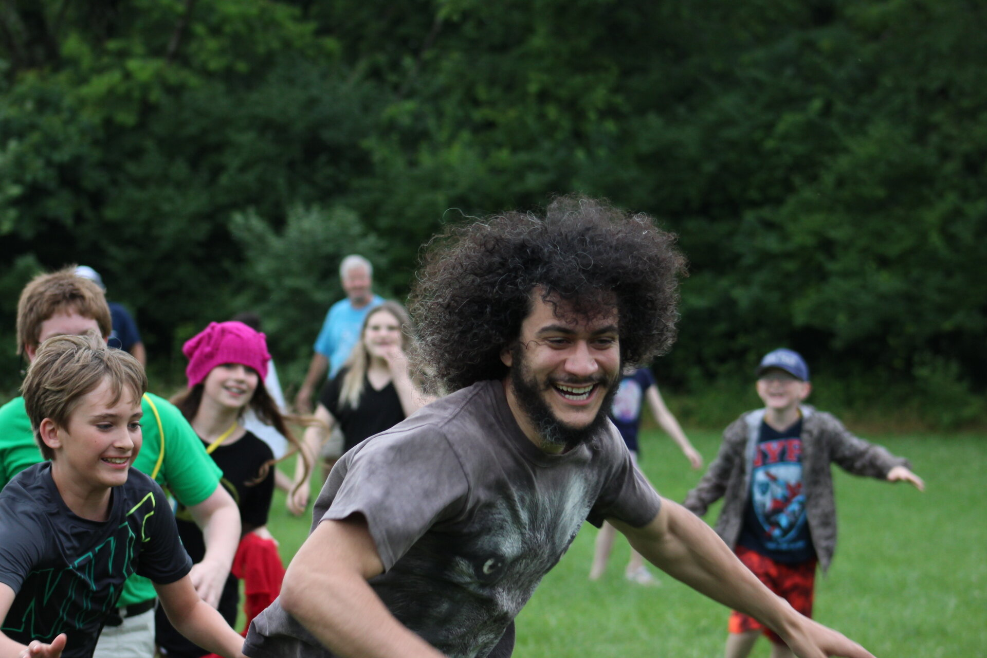 Campers and volunteers playing field games at Camp Quest Ohio, 2019.