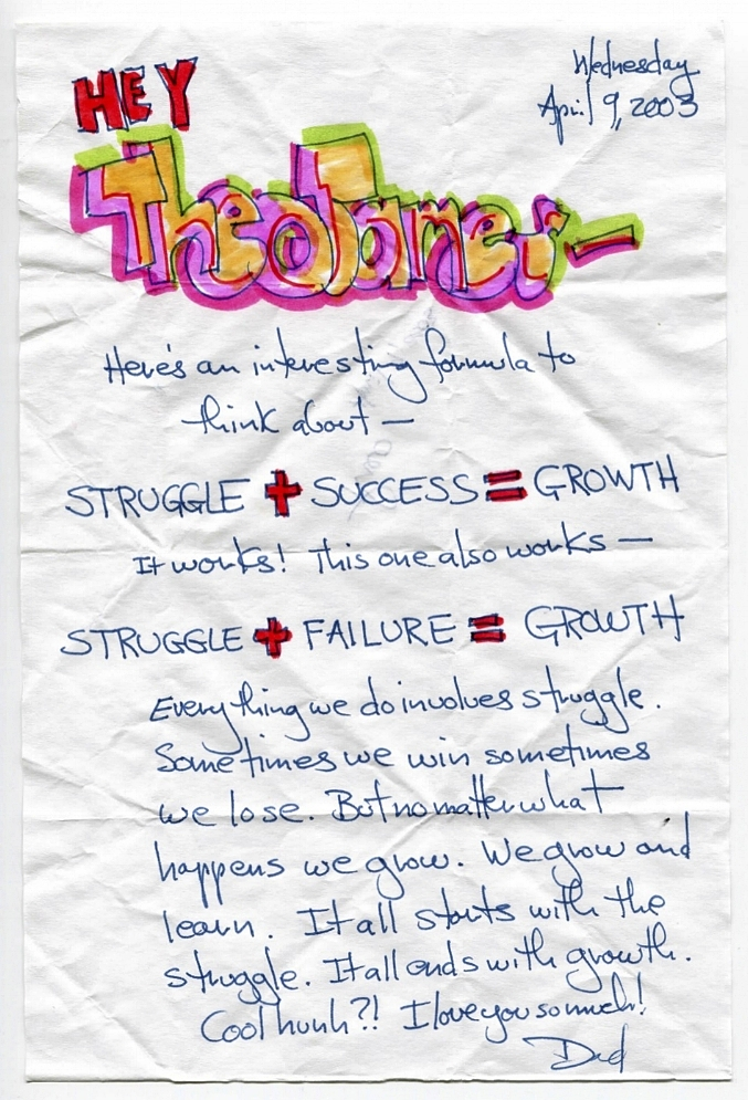 Here's an interesting formula to think about -   STRUGGLE + SUCCESS = GROWTH  It works! This one also works -  STRUGGLE + FAILURE = GROWTH  Everything we do involves struggle. Sometimes we win sometimes we lose. But no matter what happens we grow. We grow and learn. It all starts with the struggle. It all ends with growth. Cool hunh?! I love you so much!