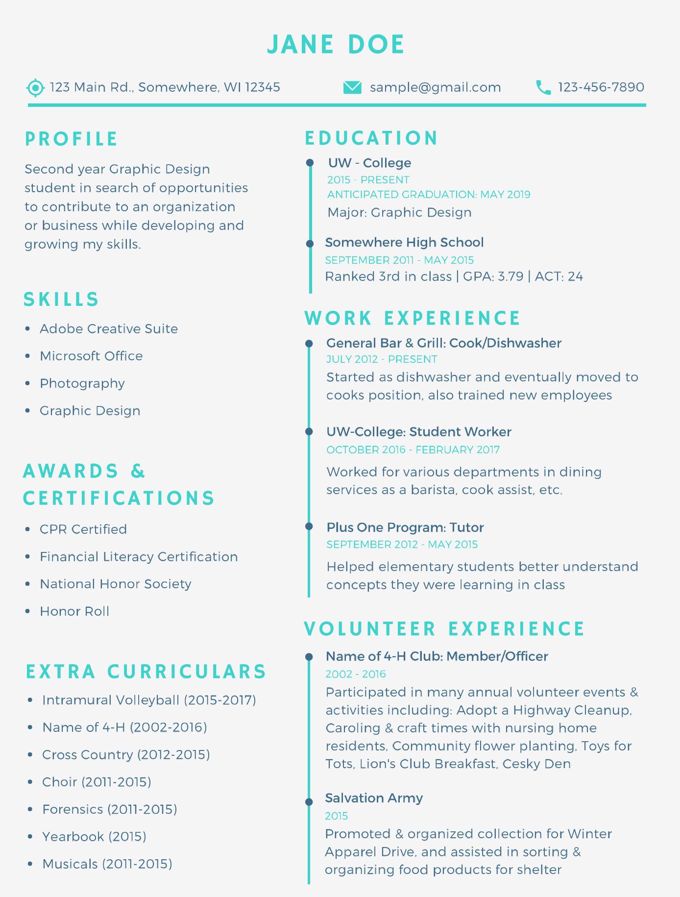 Resume Graphic Design Student