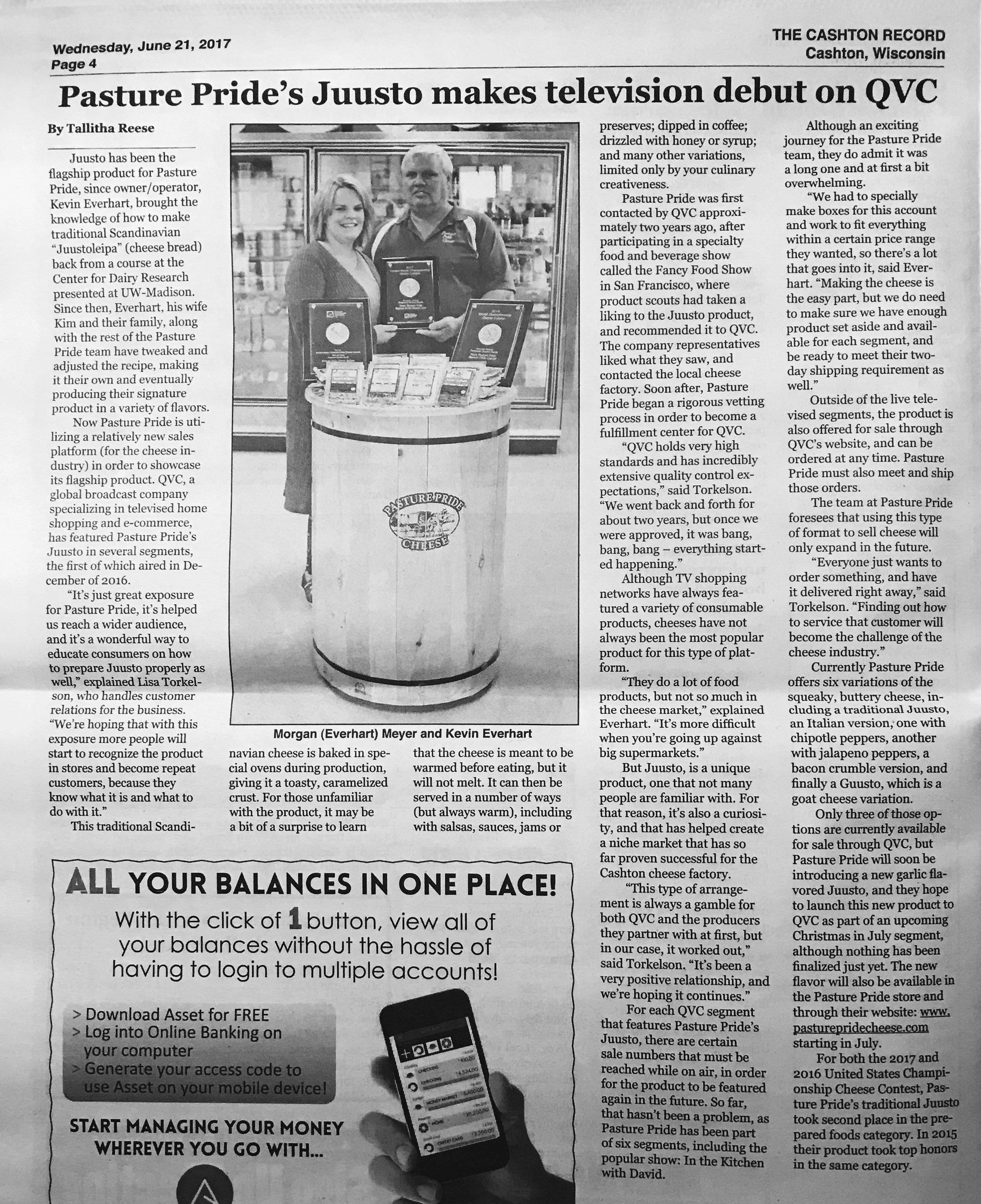 Newspaper Article Cashton Record