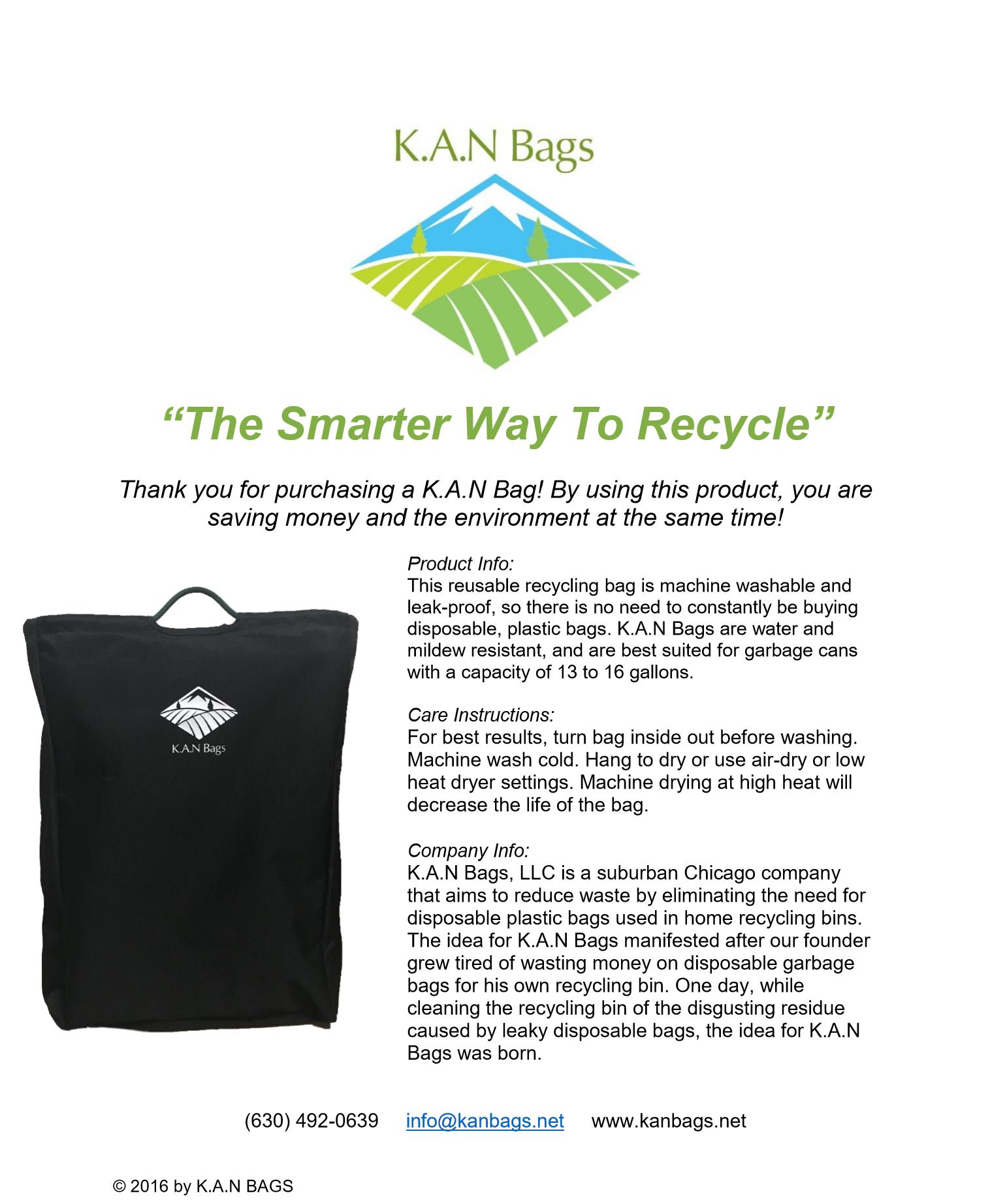 Product Info Sheet K.A.N Bags