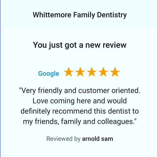 Wednesday words of satisfaction. We love our patients and value our partnership. Thank you for your praise! #wordsofwisdom #patientsatisfaction #customerservice #whittemorefamilydentistry #sellwood #sellwoodscenes #eastmoreland #westmoreland #happypatients #partnership #dentist #reviews #happypatients #hapoyteam #doctorandteam #goals
