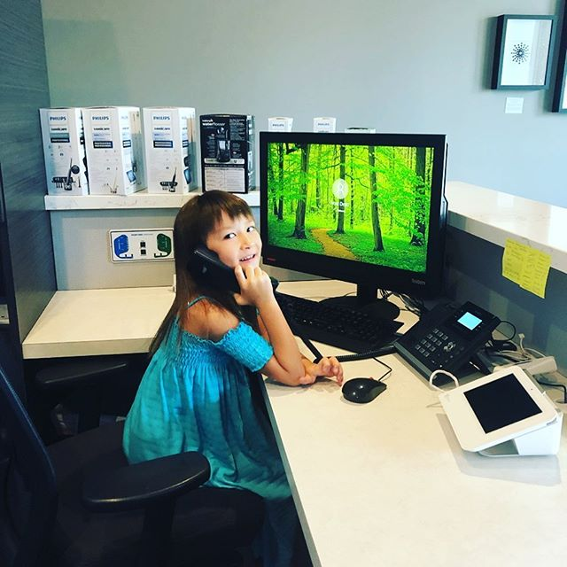 You won't see this girl answering our phones but from time to time Dr. Whittemore's daughter is roaming the office. Maybe one day she can help Brittany 😉🌞✍️ ☎️ #whittemorefamilydentistry #sellwood #sellwoodmoreland #nextrecruit #canimakeyourappointment #answeringphones #dentistry