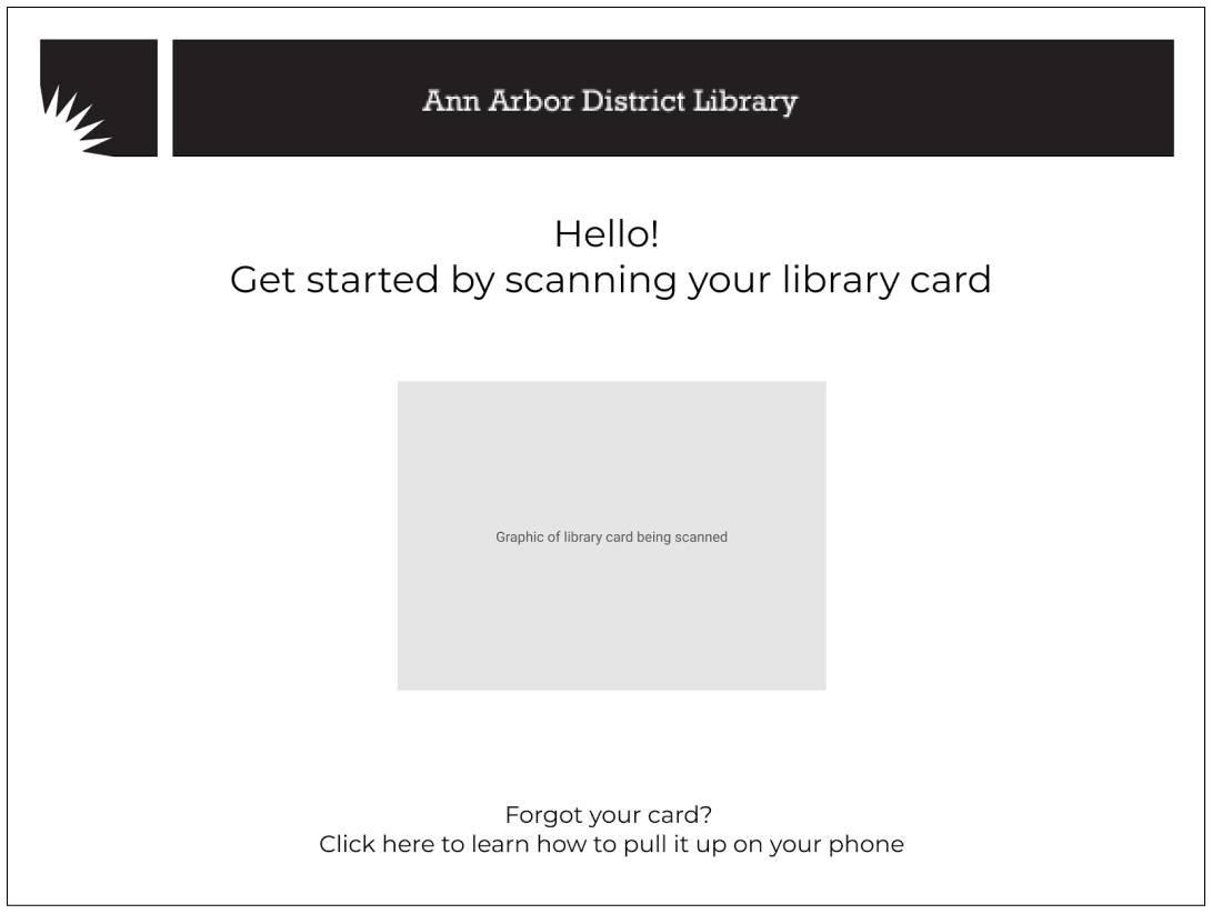 The first screen in the user flow serves to welcome the patron and instructs them to scan their library card (via words and the placeholder graphic). There are instructions detailing how a user can pull their card up on their phone, if they forgot it. With this screen, Karen now understands what to do first and Melinda knows why her sons card doesn't work.