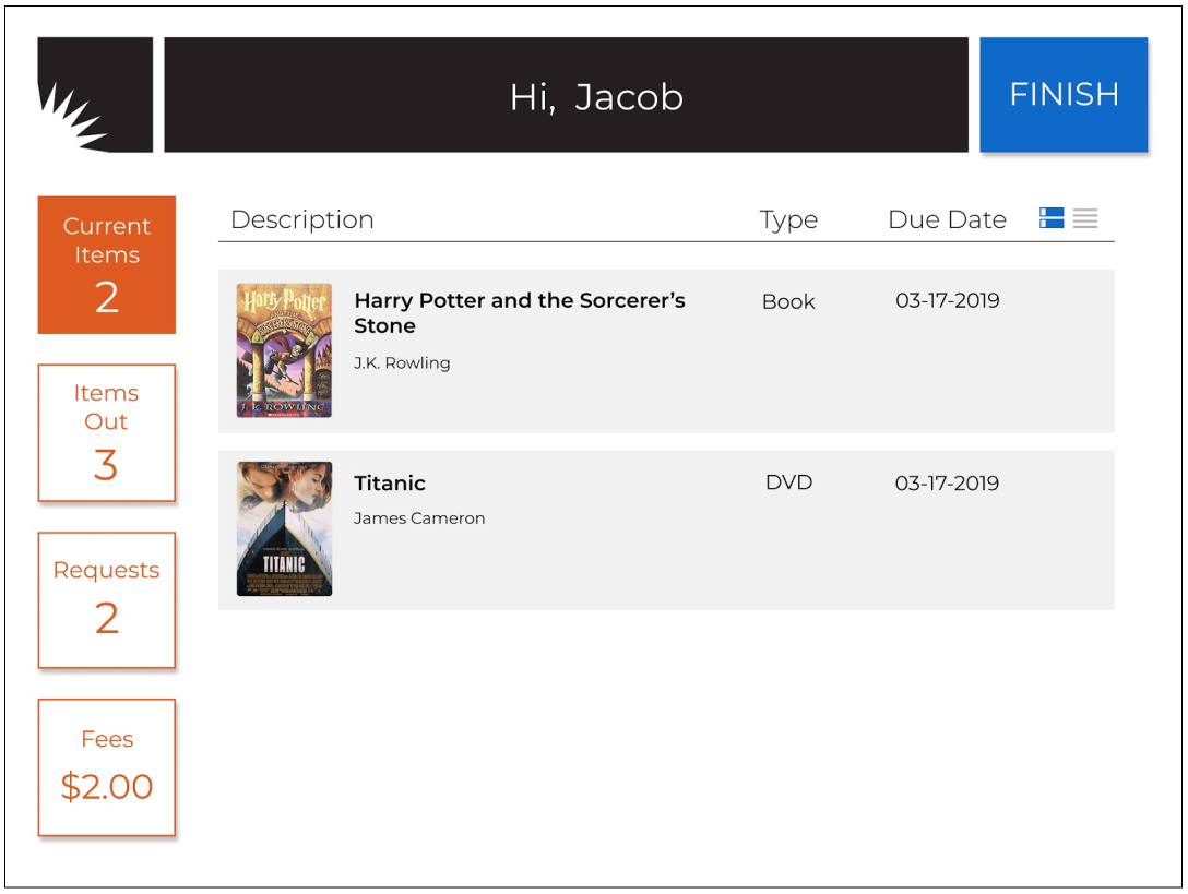 The four main screens of the interface consist of  Current Items  where users can scan items,  Items Out  where users can view already checked out items and renew,  Requests  where users can view and modify requests and  Fees  where users can view incurred fees from late items. With these pages, Jacob can now both scan his new items and renew ones he already has out.