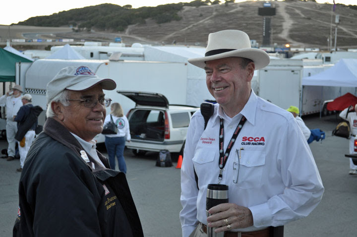Dennis Dean, right, talks with Bruce Brunner at the 2014 Runoffs at Mazda Raceway Laguna Seca. (Credit: Donna Duffey)