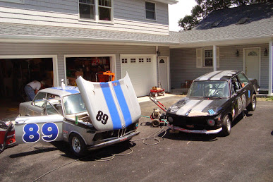 RUNNER UP: Jeanne Burton Fryer - ITB BMW 2002's in driveway getting prepped .
