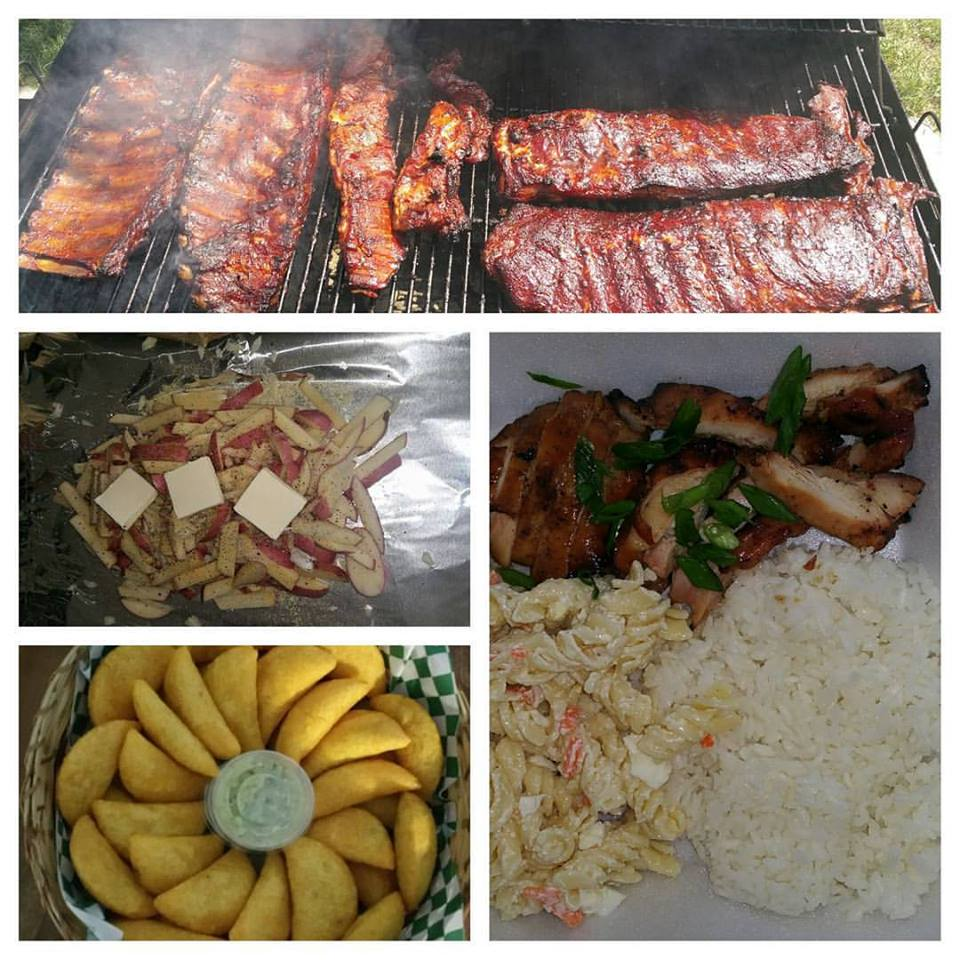 Bbq ribs, half chickens, teriaki thighs, wings, potato fries, Mac salad.jpg